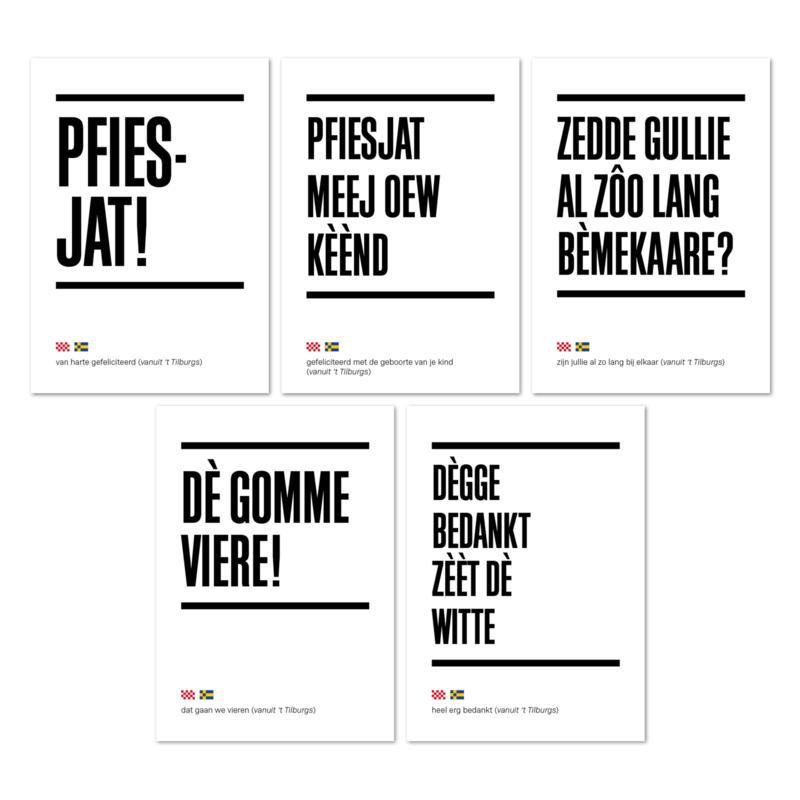 Tilburgse Kòrtjes - set van 5 - wenskaarten