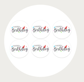 Label stickers voor op een kadootje HAPPY BIRTHDAY
