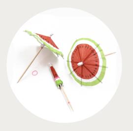 cupcake prikker watermeloen paraplu