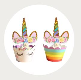 Eenhoorn cupcake wikkel met hoorn