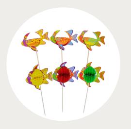 cupcake prikker kleurrijke vis