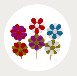 cupcake prikker glitter bloem