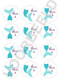 Zeemeermin label stickers met eigen naam en leeftijd