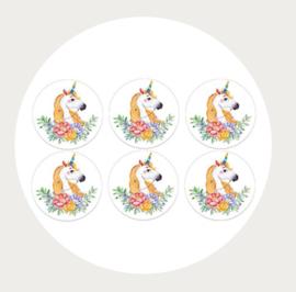 Label stickers voor op een kadootje Unicorn