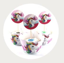 Eenhoorn cupcake wrapper met prikker