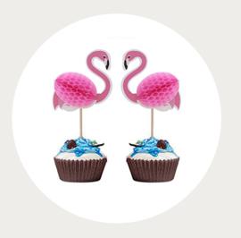 Flamingo cupcake prikker