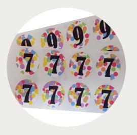 Label stickers cijfer confetti