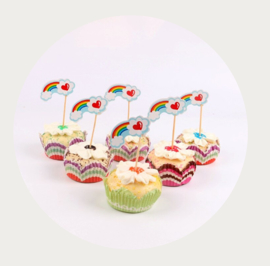 cupcake prikker regenboog