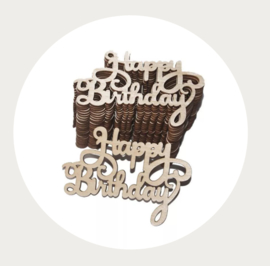 Houten label Happy Birthday 1