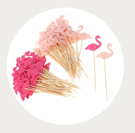 Flamingo cupcake prikker - roze-