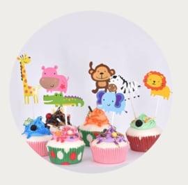 cupcake prikker schattige Jungle dieren