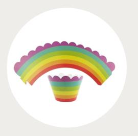 Cupcake wikkel/wrapper regenboog