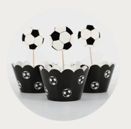 Voetbal cupcake prikker met wrapper