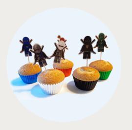 Cupcake bakvormpjes ninja kleuren