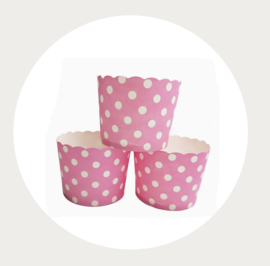 cupcake liner roze - wit stippen