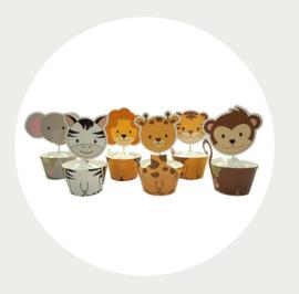 Schattige dieren cupcake prikker + wrapper
