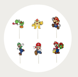 Super Mario cupcake prikkers