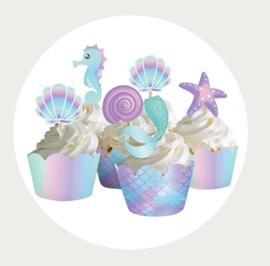 Cupcake wrapper + prikker Zeemeermin thema