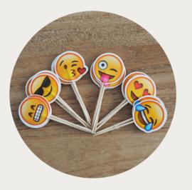 Emoji cupcake prikkers