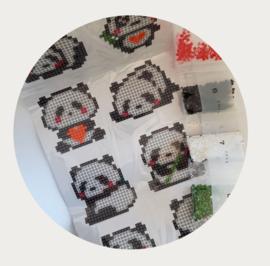 Diamond painting panda stickerset