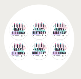 Label stickers voor op een kadootje HAPPY BIRTHDAY 2