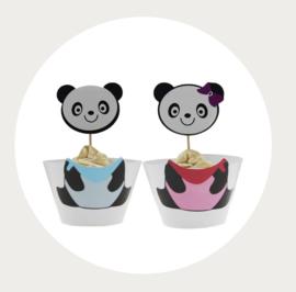 Panda cupcake wikkel + wrapper