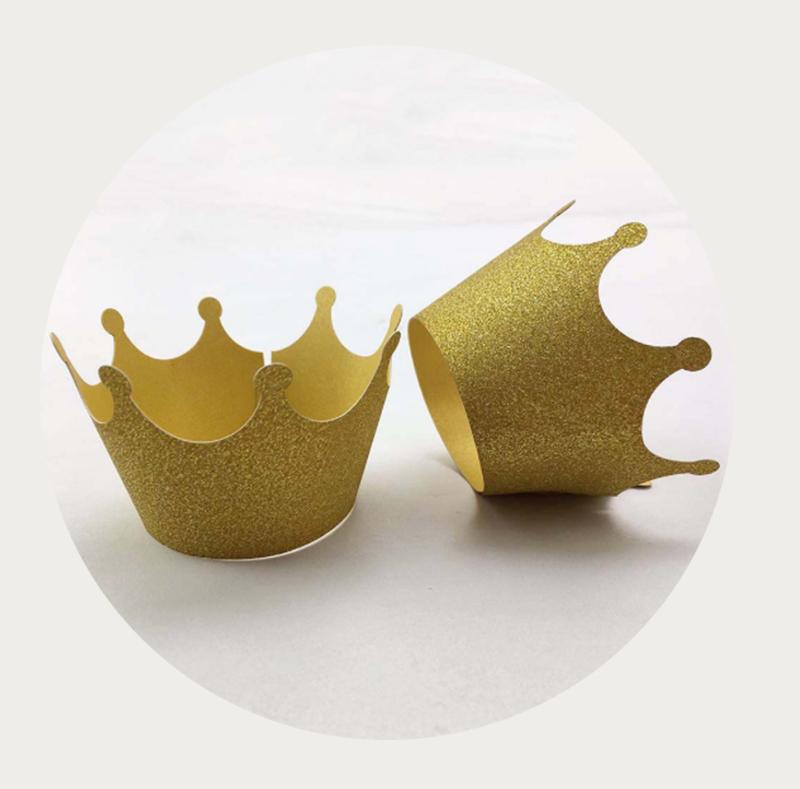 cupcake wikkel / wrapper gouden kroon