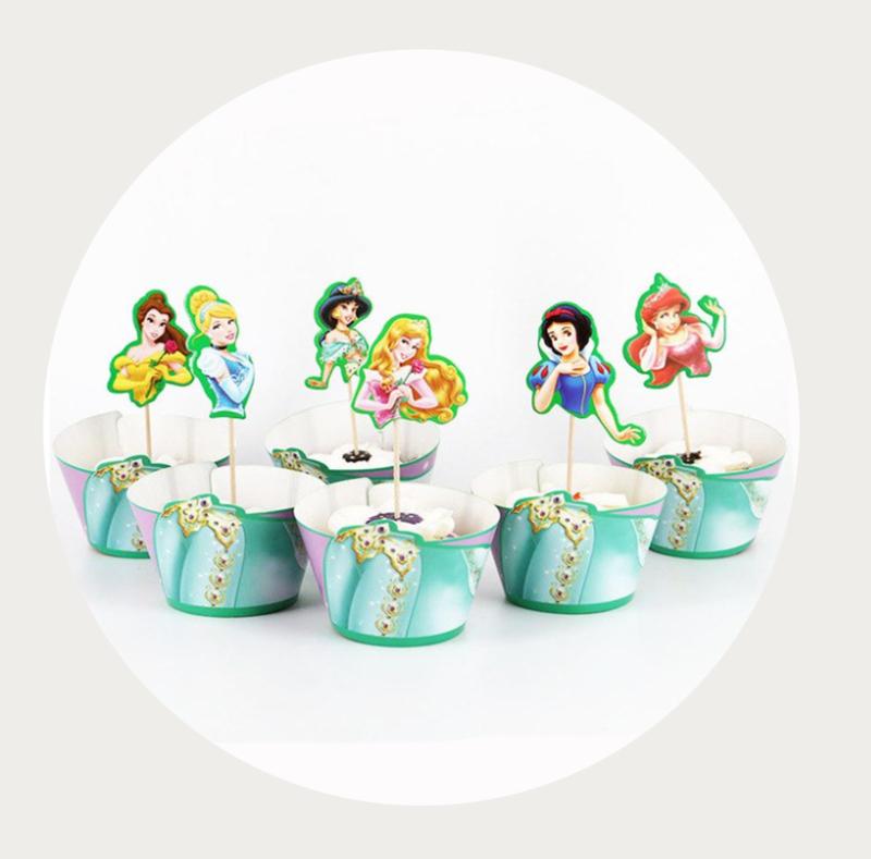 Prinses cupcake prikker + wrapper
