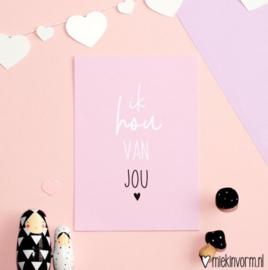 ik hou van jou ansichtkaart