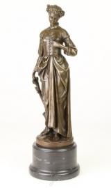 Klassiek Gedetailleerd Bronzen vrouw met roos