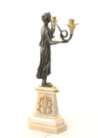 Bronzen twee armig kandelaar