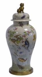 Prachtige craquele Porseleinen urn in Jugendstil stijl.