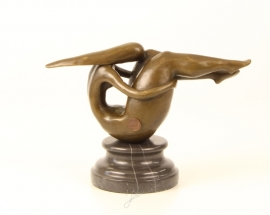 Bronzen  beeld abstracte naakte turnster