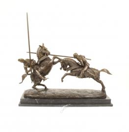Bronzen beeld slag van de HERTOG van CLARENCE en Ridder van FONTAINE
