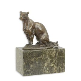 mooie brons beeldje van zittende panter