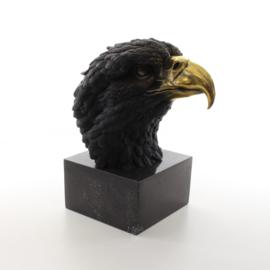 Een bronzen beeld van een adelaarskop