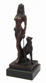 Bronzen Cleopatra met panter