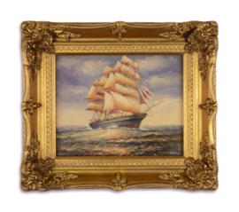 Olieverfschilderij met een nautische afbeelding.