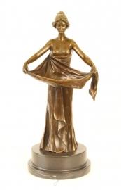 Bronzen beeld van ART NOUVEAU vrouw