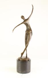 Gedetailleerd abstract dansende Bronzen vrouw
