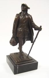 Bronzen beeld van de jeugdige Franklin