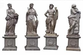 Vier seizoenen standbeelden op sokkel