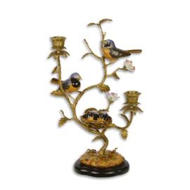 bronzen kandelaar met  vogeltjes
