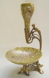 Bronzen porseleinen fruit en bloemenvaas