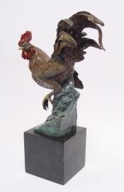 Bronzen beeld van een haan met mooie kleuren