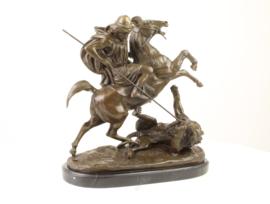 Bronzen beeld de leeuwenjacht