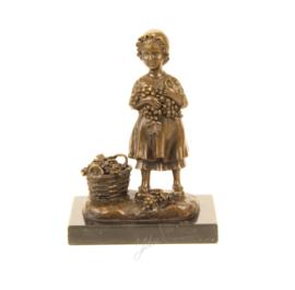 Brons beeldje meisje met mand vol druiven