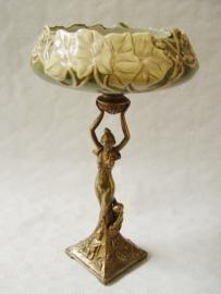 Schalen vazen Brons met porselein