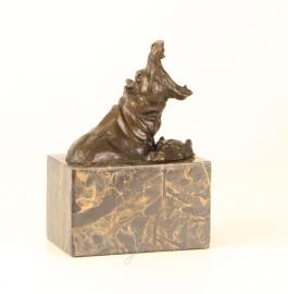 Bronzen  beeld van badende nijlpaarden