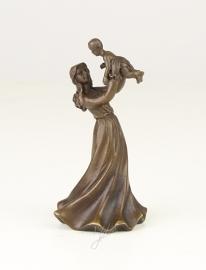 Een bronzen tafelbel jonge vrouw met kind